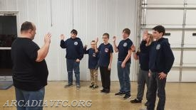 Junior company Officers being sworn in by Tom Ludwig